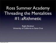 Lecture #1 - Ralph Abraham