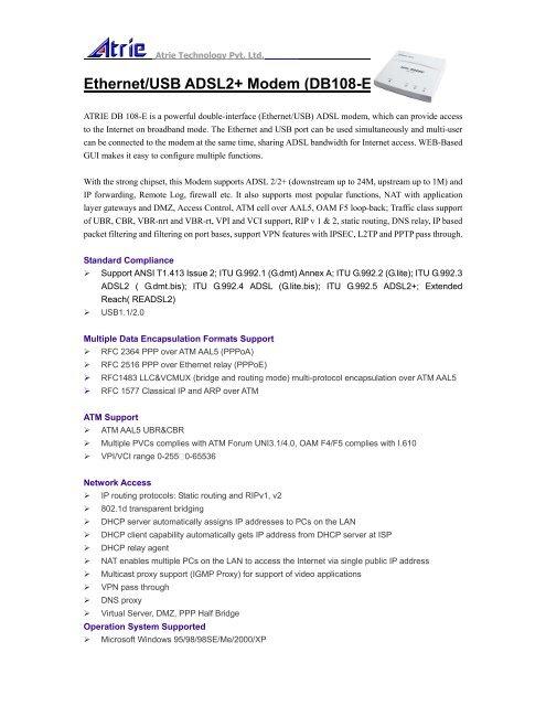Ethernet/USB ADSL2+ Modem (DB108-E) - Atrie Technology Pvt  Ltd