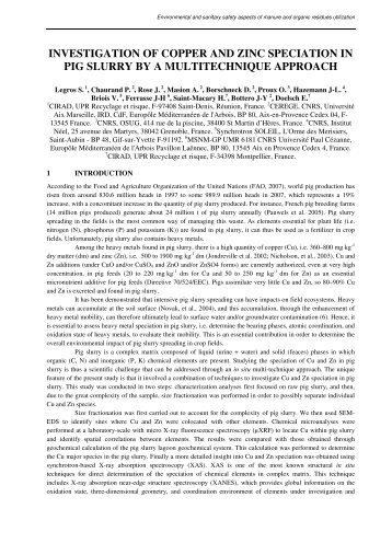 investigation of copper and zinc speciation in pig slurry by ... - Ramiran