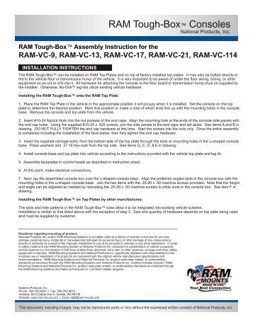Tough-Box™ Console Installation Instructions - RAM Mounts