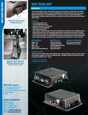 RAM Tough-Hub™ Specifications Sheet - RAM Mounts