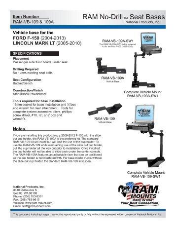RAM-VB-109 Installation Instructions - RAM Mounts