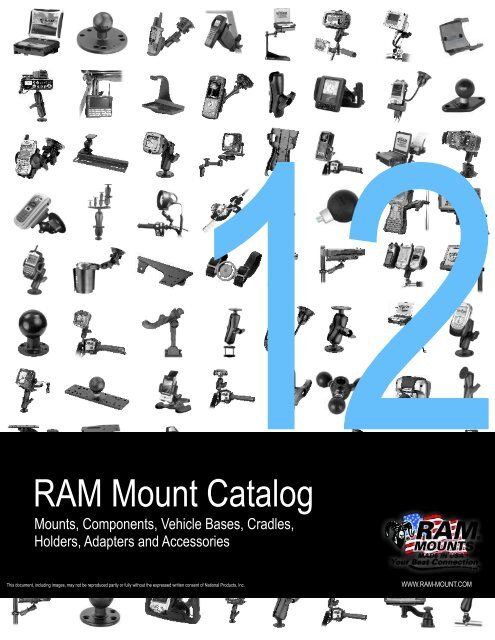 Ram Mount RAM-B-247U-2 UNPK CLAMP Base W//Ball 2 MAX Width