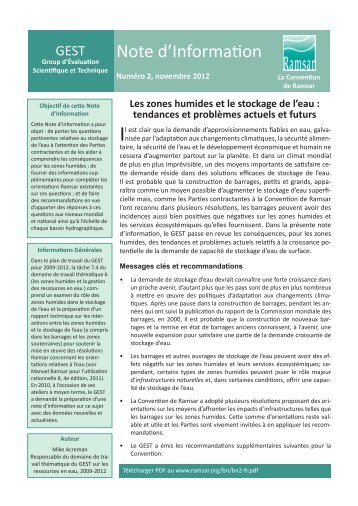 Note d'Information - Ramsar Convention on Wetlands