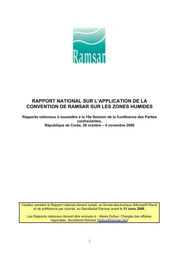 rapport national sur l'application de la convention de ramsar sur les ...