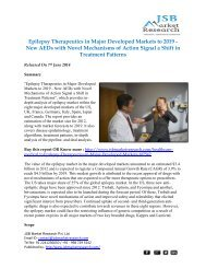 JSB Market Research - Epilepsy Therapeutics in Major Developed Markets to 2019