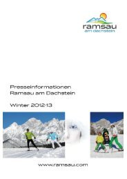 Presseinformation Winter 2012/13 - Ramsau am Dachstein