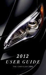 2012 Chrysler 200 Sedan User's Guide