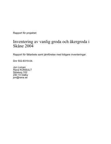 Inventering av vanlig groda och åkergroda i Skåne ... - Rana Konsult