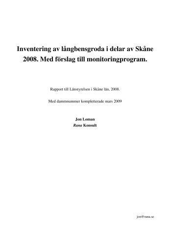 Inventering av långbensgroda i delar av Skåne 2008 ... - Rana Konsult