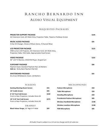 AUDIO VISUAL EQUIPMENT - Rancho Bernardo Inn