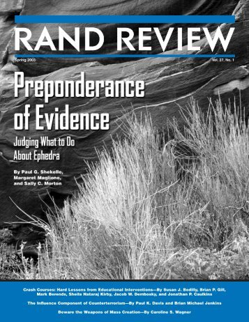 RAND Review, Vol. 27, No. 1, Spring 2003 - RAND Corporation