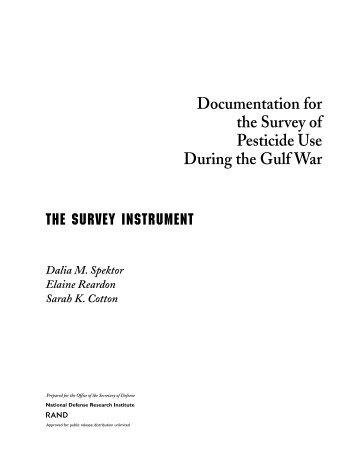 Documentation for the Survey of Pesticide Use During the Gulf War ...