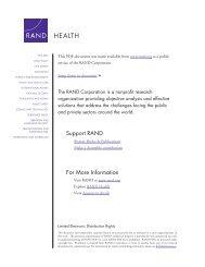Controlling Health Care Spending in Massachusetts - RAND ...