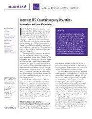 Improving US Counterinsurgency Operations - RAND Corporation