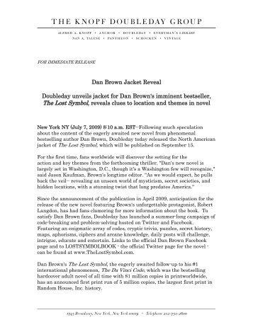 Dan Brown Jacket Reveal Doubleday unveils jacket for Dan Brown's ...