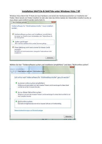 Installation Saa713x & Saa716x unter Windows Vista / XP - CREATIX