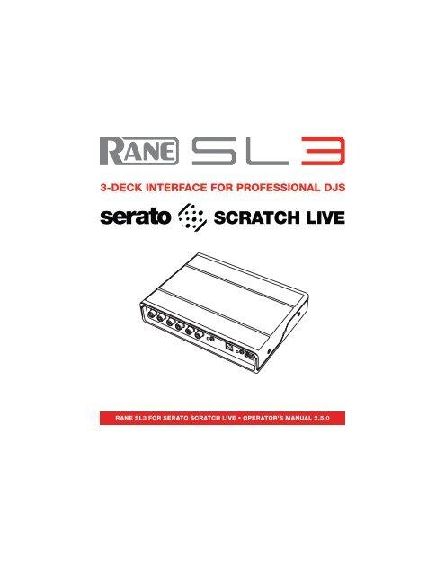 SL3 Manual for Serato Scratch Live 2 5 0 - Rane