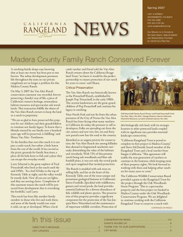 Spring 2007 Newsletter - The California Rangeland Trust