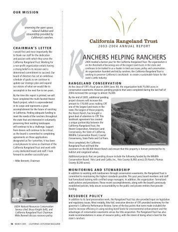Annual Report 2003-2004 - The California Rangeland Trust