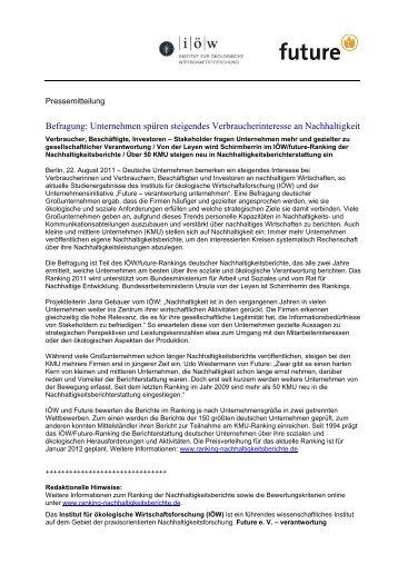 zur Pressemitteilung (pdf) - IÖW/future-Ranking der ...