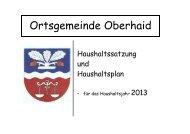 Haushaltssatzung und Haushaltsplan Oberhaid 2013