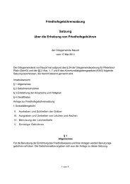Satzung über die Erhebung von Friedhofsgebühren ab Juni 2011