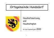 Haushaltssatzung und Haushaltsplan Hundsdorf 2010