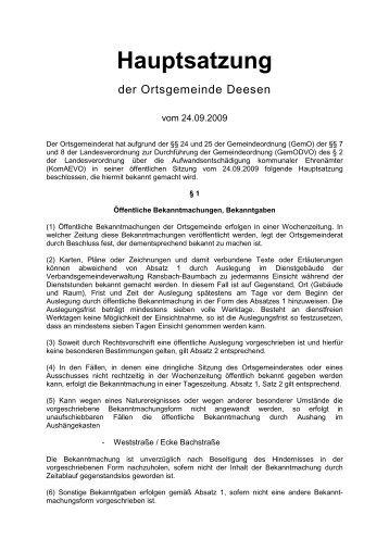 Hauptsatzung Deesen - Verbandsgemeinde Ransbach-Baumbach