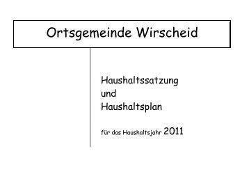 Haushaltssatzung und Haushaltsplan Wirscheid 2011