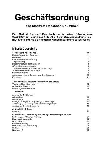 Geschäftsordnung des Stadtrats Ransbach-Baumbach 2009