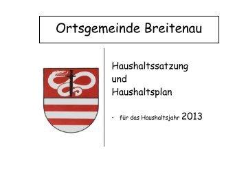 Haushaltssatzung und Haushaltsplan Breitenau 2012