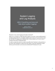 System Logging and Log Analysis - Marcus Ranum