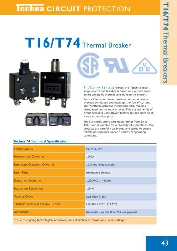 CIRCUIT PROTECTION T16/T74 Thermal Breakers 43 T16 ...