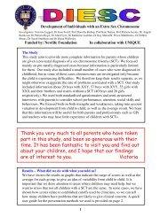 Conclusion for parents_XYY - Unique - The Rare Chromosome ...