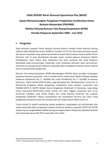 FINAL REPORT Barier Removal Operational Plan ... - RarePlanet