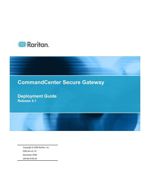 CommandCenter Secure Gateway - Deployment Guide - v4.1 - Raritan