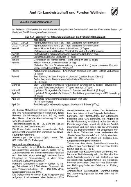 14 - Amt für Ernährung, Landwirtschaft und Forsten Weilheim i.OB ...