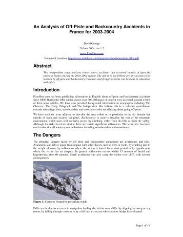 Analysis of off-piste and backcountry accidents in France ... - Rasc.ru