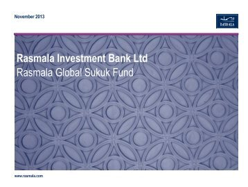 Rasmala Global Sukuk Fund Presentation - Rasmala Investment Bank