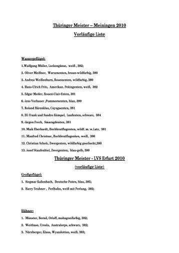 Thüringer Meister – Meiningen 2010 Vorläufige Liste Thüringer ...