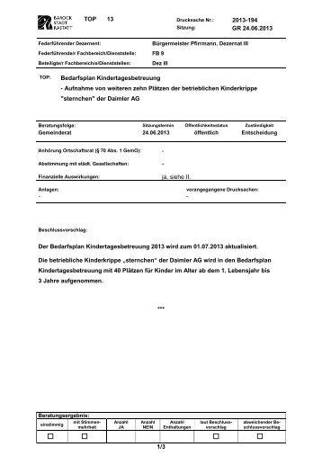 Aufnahme von weiteren zehn Plätzen der ... - Stadt Rastatt
