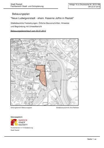 "Bebauungsplan ""Neue Ludwigvorstadt - ehem ... - Stadt Rastatt"