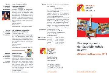 Kinderprogramm der Stadtbibliothek Rastatt - Stadt Rastatt