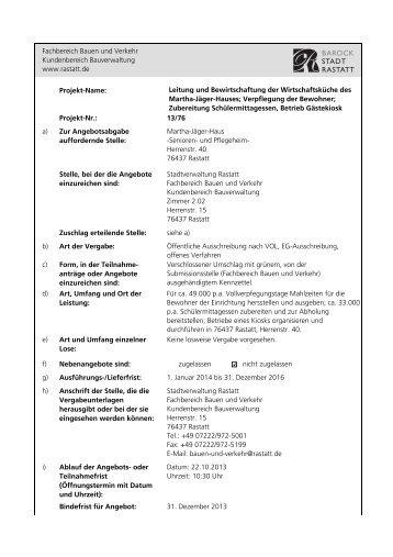 Projekt-Name: Leitung und Bewirtschaftung der Wirtschaftsküche ...