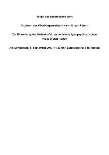 können Sie die Rede von Oberbürgermeister Hans ... - Stadt Rastatt