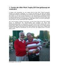 Bericht 1. Afterwork-Turnier 14.05.2013 - SG Stern Rastatt