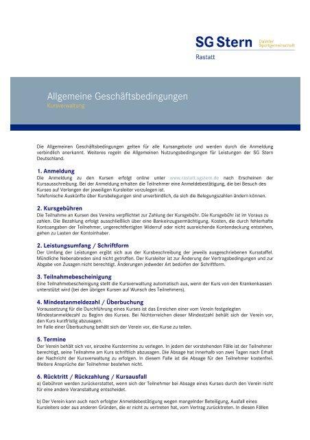 AGBs Kursverwaltung - SG Stern Rastatt - SG Stern Deutschland