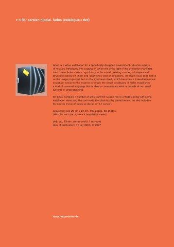 r - n 84 carsten nicolai. fades (catalogue + dvd) - Raster-Noton