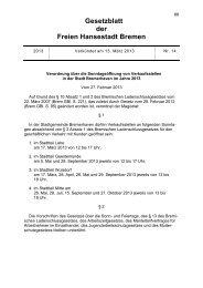 Gesetzblatt der Freien Hansestadt Bremen - Senatskanzlei - Bremen